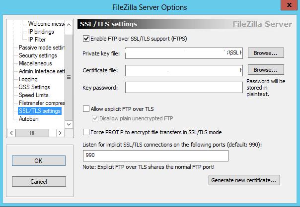 FileZilla SSL/TLS