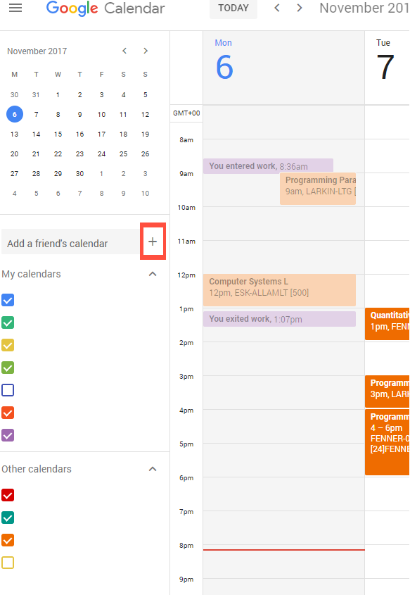 Google Calendar add timetable calendar
