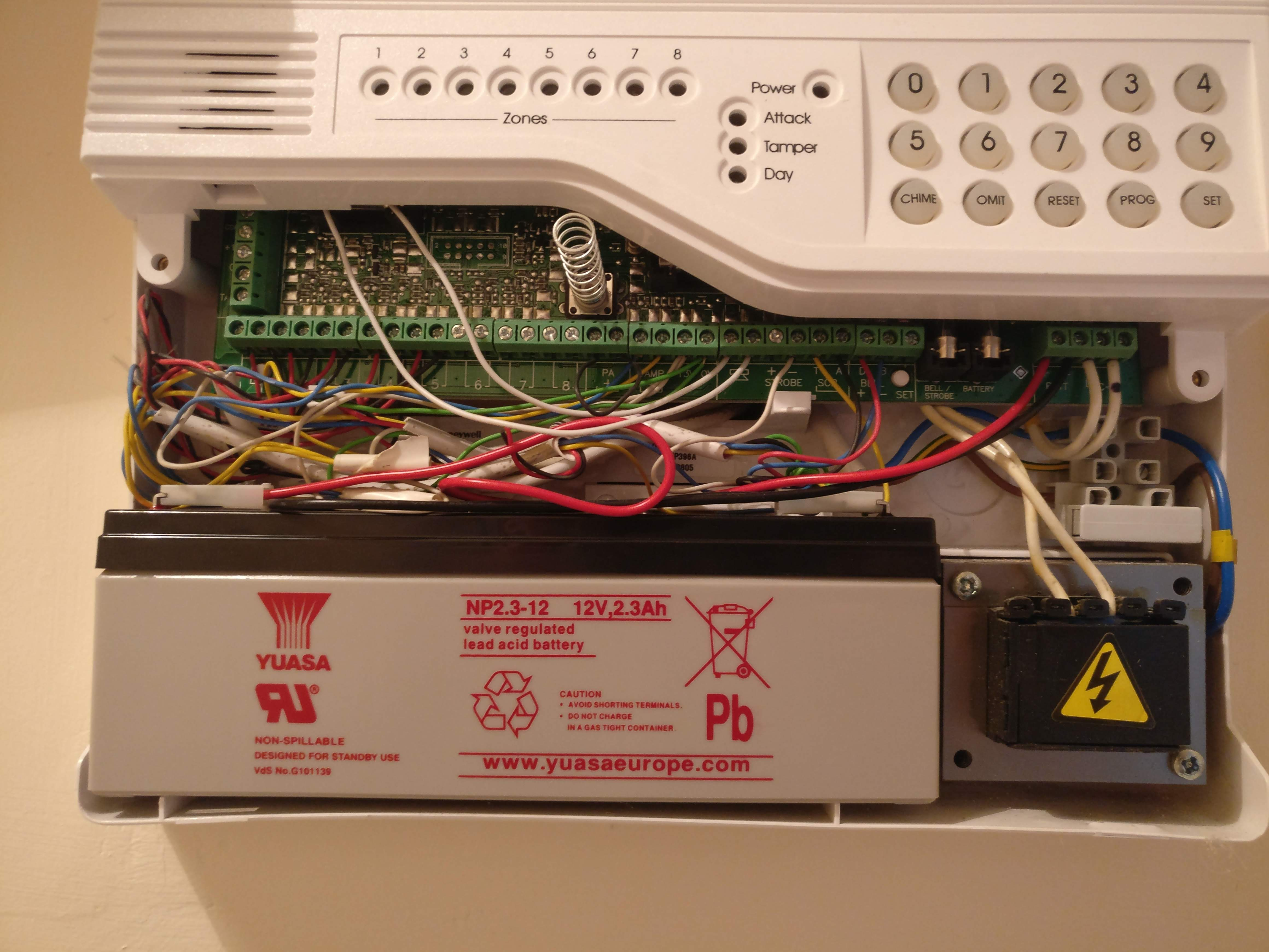 Accenta / Optima alarm control box with bottom section removed